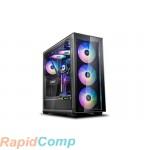 Корпус Deepcool MATREXX 70 ADD-RGB 3F без БП, боковое окно (закаленное стекло), 3xRGB LED 120мм ветилятора спереди, RGB LED спереди, черный, E-ATX
