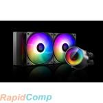 Комплект водяного охлаждения DEEPCOOL CASTLE 240 RGB V2 LGA20XX / LGA1366 / LGA115X / TR4 / AM4 / AM3 / + / AM2 / + / FM2 / + / FM1 (6шт / кор,TDP 250W, ARGB Lighting, Anti-Leak edition, PWM, DUAL FAN) RET